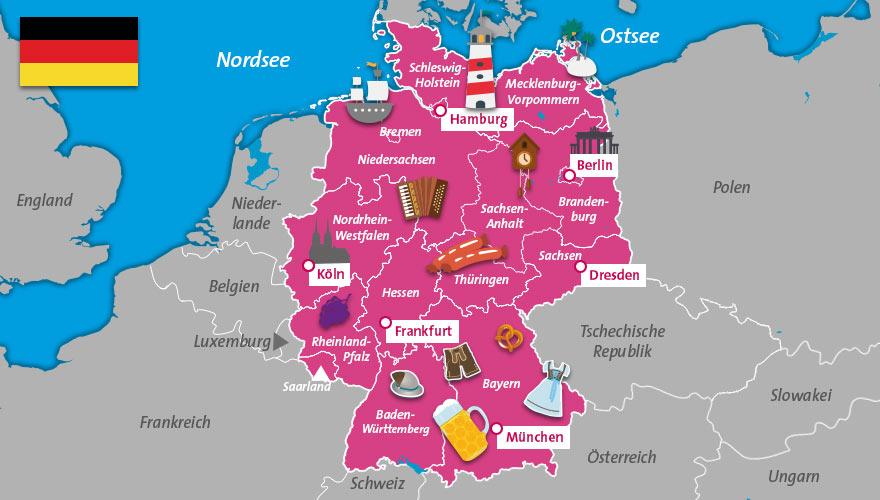 Deutschlandkarte Urlaubsziele Deutschland Karte