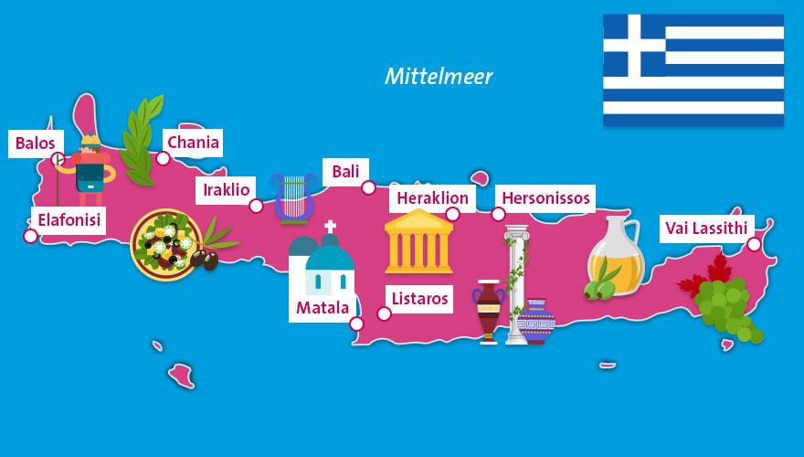 Karte von Kreta in Griechenland