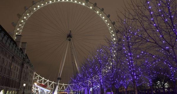 Reisenrad London Eye bei Nacht
