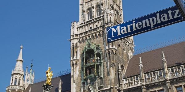 Der Marienplatz in der Innenstadt Münchens