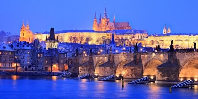 Prag in Tschechien bei Nacht