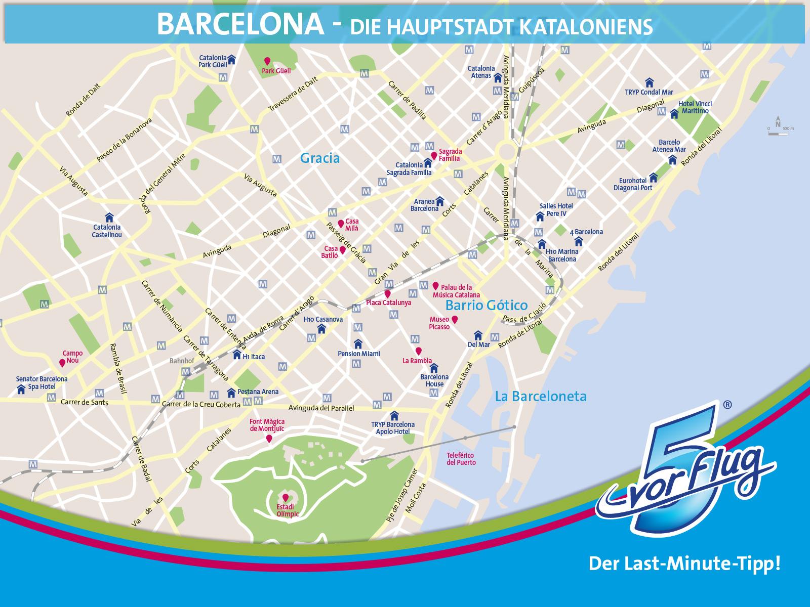 Karte Barcelona: Städtetrip