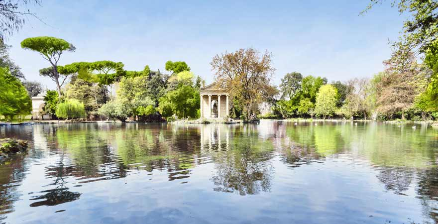 Park der Villa Borghese in Rom in Italien