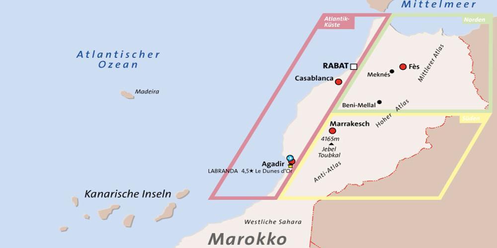 Verschiedene Regionen in Marokko.
