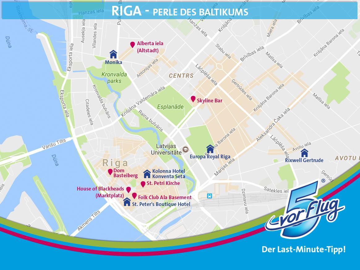 Hotels und Sehenswürdigkeiten in Riga