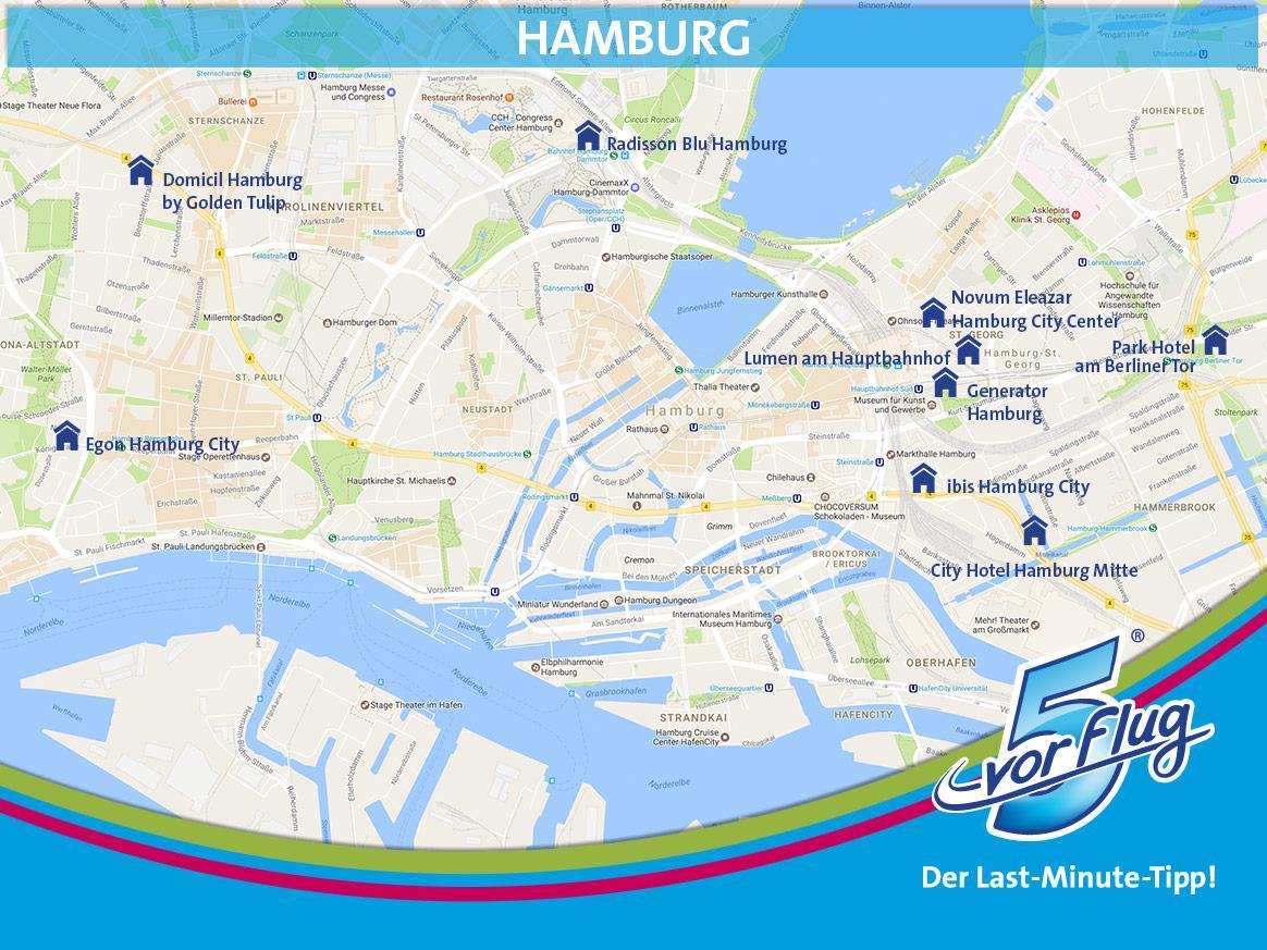 Karte mit zentralen Hotels in Hamburg