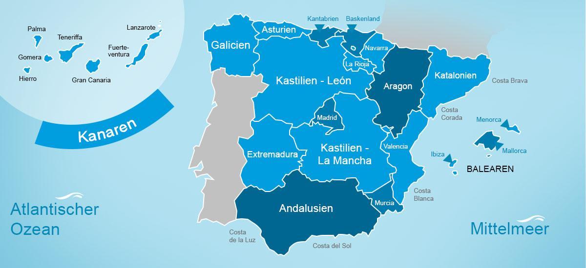 Karte mit Regionen in Spanien