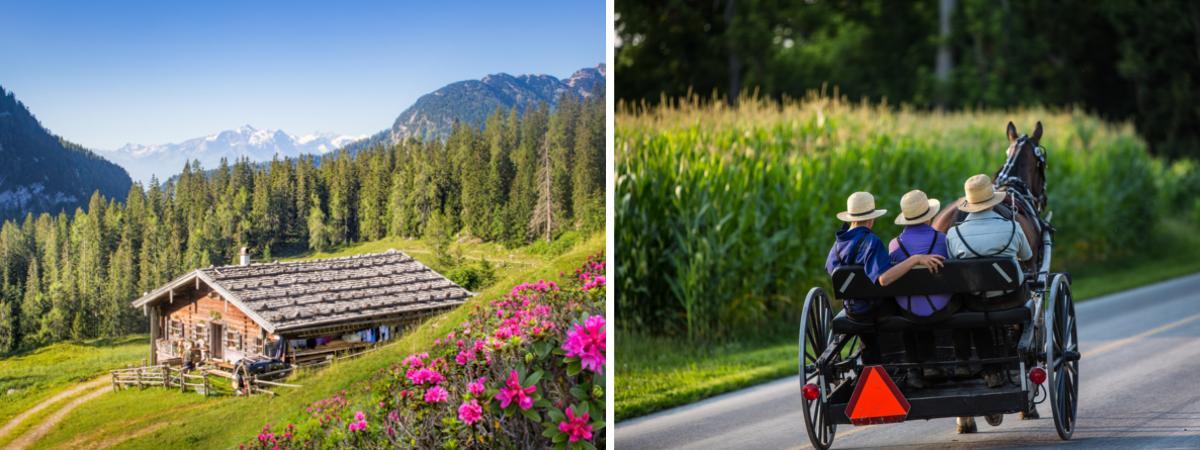 Berghütte und Amish