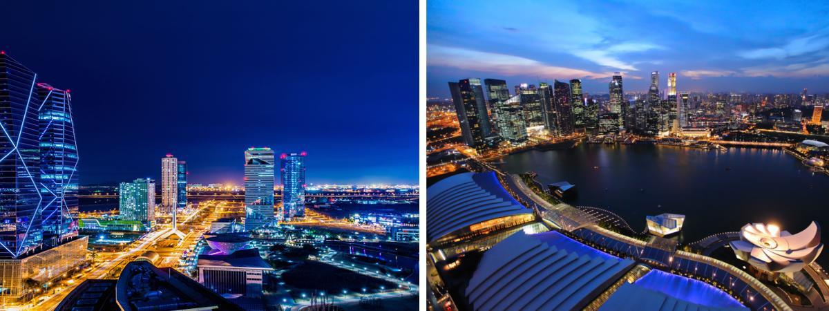 Moderne Städte Singapur und Songdo