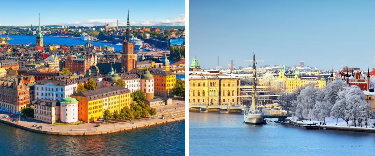 Stockholm im Sommer und im Winter