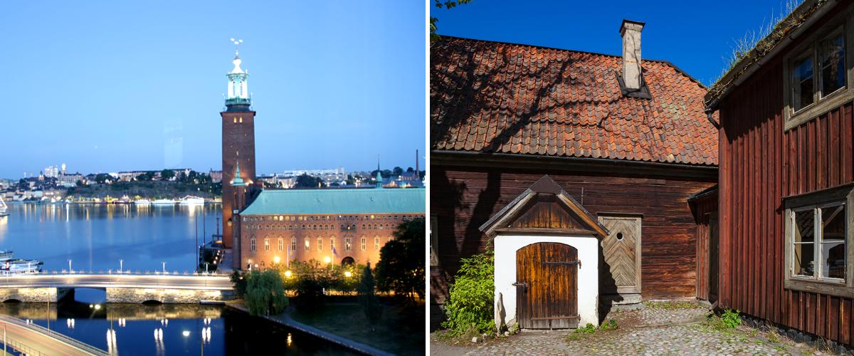 Das Rathaus in Stockholm und das Freilichtmuseum.
