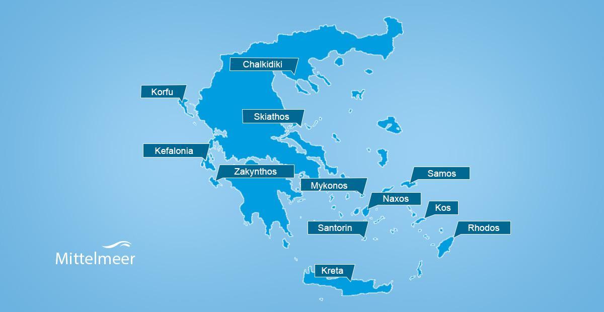 Karte mit Regionen in Griechenland
