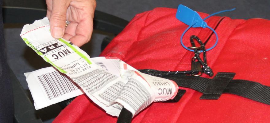 Code am Gepäck am Flughafen