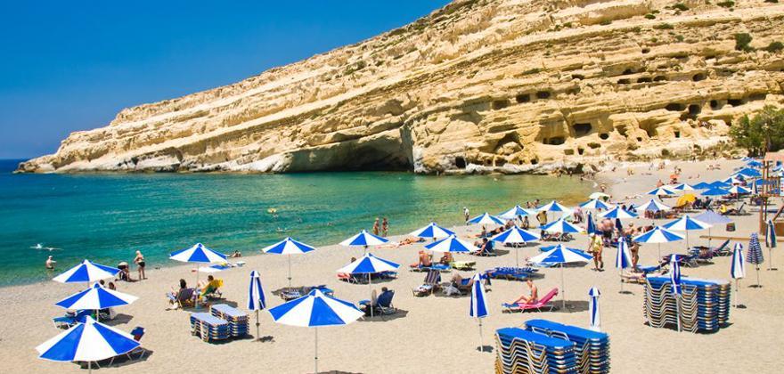Strand von Matala auf Kreta in Griechenland