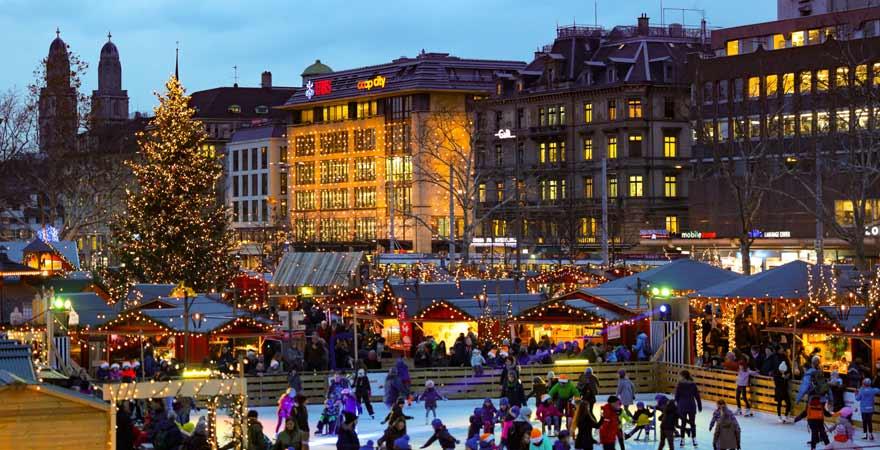 Weihnachtsmarkt in Zürich in der Schweiz