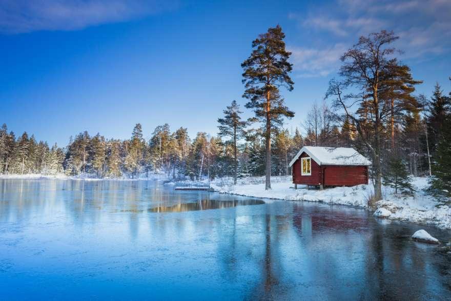 Schweden-Haus-Winter