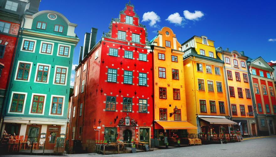 Bunte Häuser in Stockholm.
