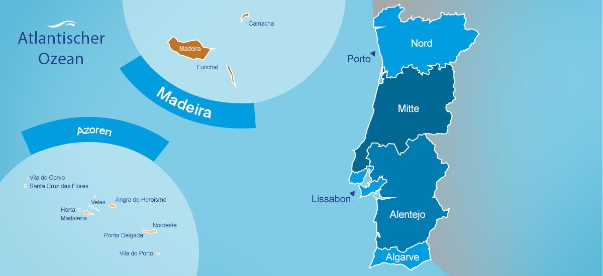 Portugal Karte mit den beliebtesten Urlaubsregionen