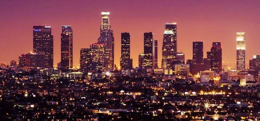 Los Angeles bei Sonnenuntergang in den USA