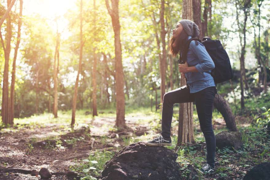 Wandererin im Wald