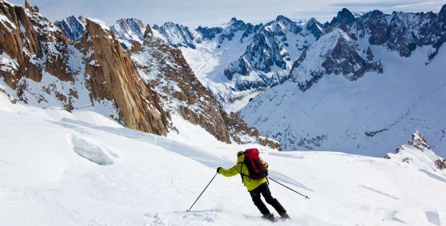 Skifahrer auf dem Montblanc in Frankreich
