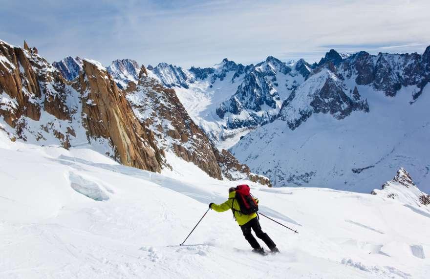 Skifahrer auf dem Montblanc
