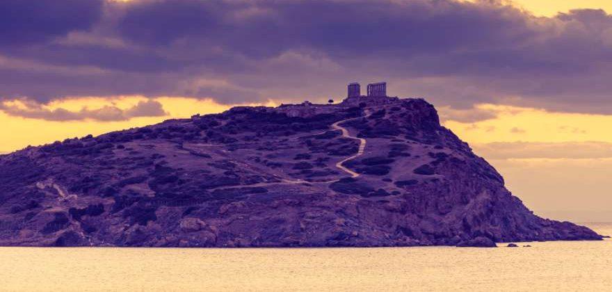 Poseidon Tempel vom Sounion Beach aus in Griechenland