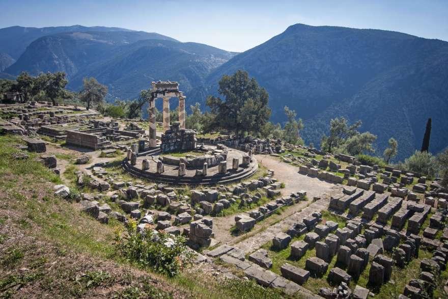Tempel der Athene in Delphi in Griechenland