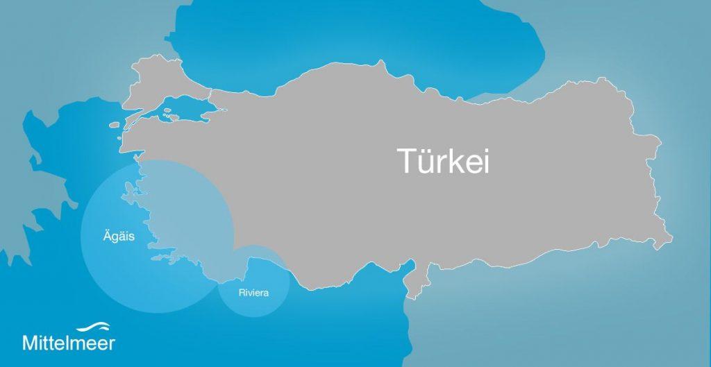 Karte türkische Ägäis und türkische riviera