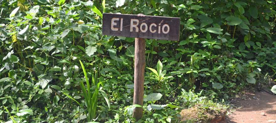 Schild El Rocio in Topes de Collantes