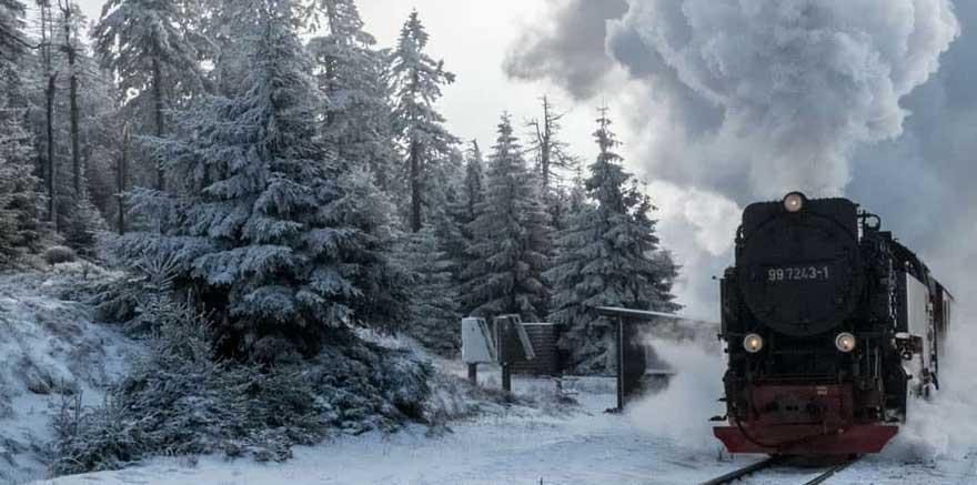 Brocken im Winter im Harz in Deutschland