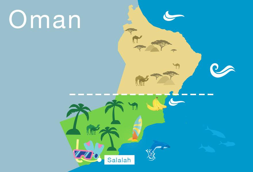 Karte vom Oman auf der Arabischen Halbinsel