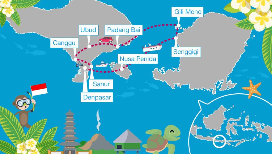 Karte von einer Rundreise in Indonesien (Bali, Nusa Penida, Lombok und Gili Meno)