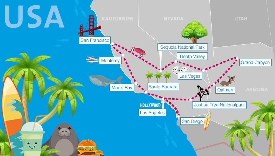 Route für einen USA-Roadtrip durch Kalifornien, Nevada und Arizona