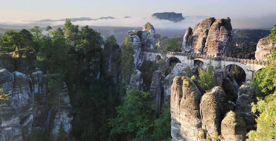 Bastei in der Saechsische Schweiz in Deutschland