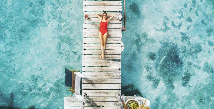 Laguna bacalar auf Yucatan in Mexiko