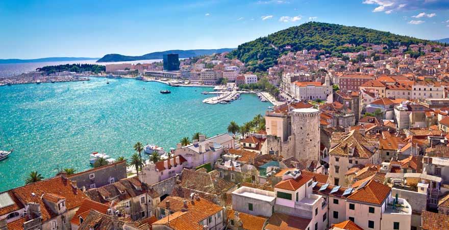 Ausblick vom Berg Marjan auf Split in Kroatien