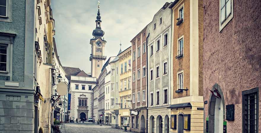 Gasse in Linz in Österreich