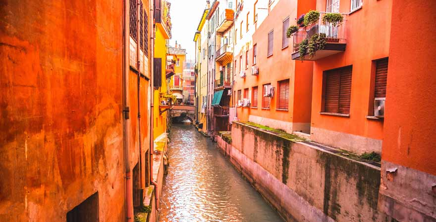 Kanal in Bologna in Italien