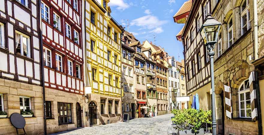 Weißgerbergasse in der Altstadt von Nürnberg