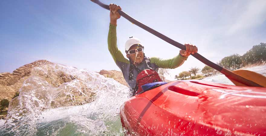 Kayak im Wadi Adventure in Abu Dhabi