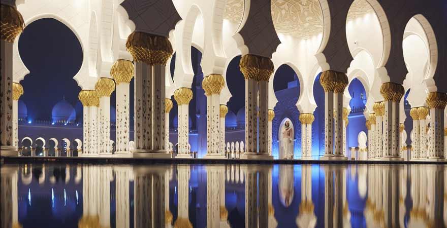 Scheich Zayed Moschee bei Nacht
