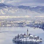 See Bled in Slowenien im Winter