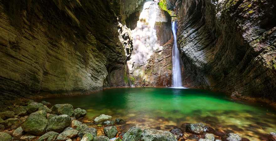 Wasserfall Veliki Kozjak in Slowenien