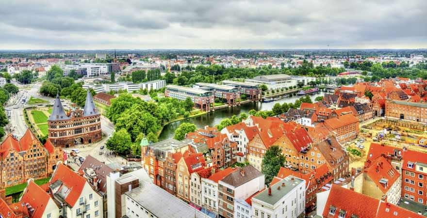 Lübeck in Deutschland von oben