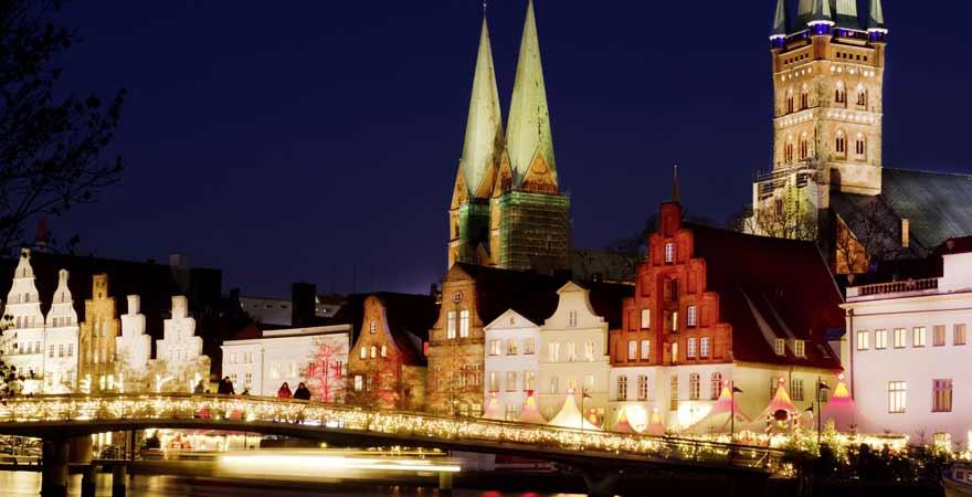Weihnachtsmarkt in Lübeck in Deutschland
