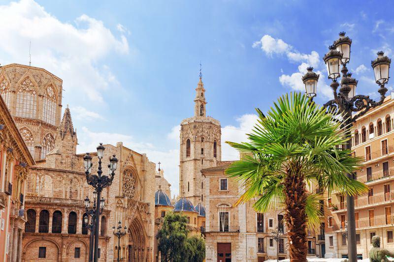 Saint Marys Platz und die Kathedrale in Valencia