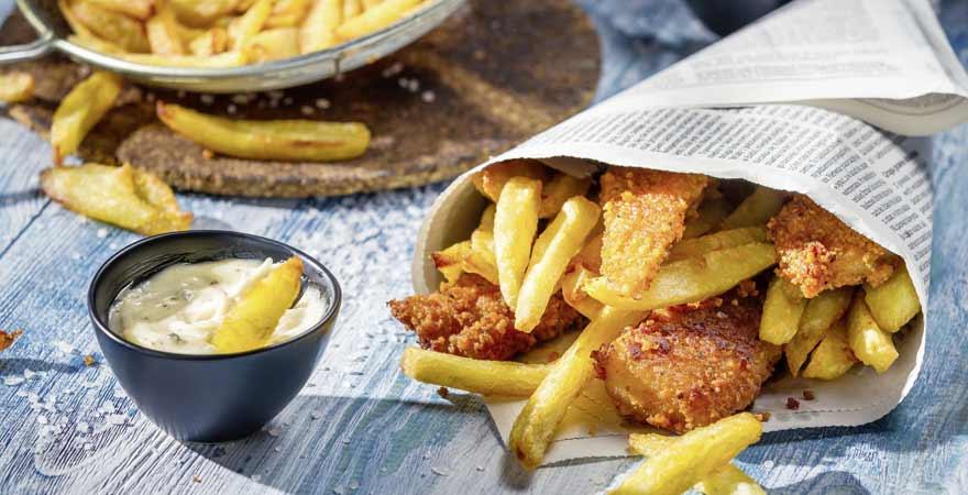 Eine Portion Fish and Chips mit einem