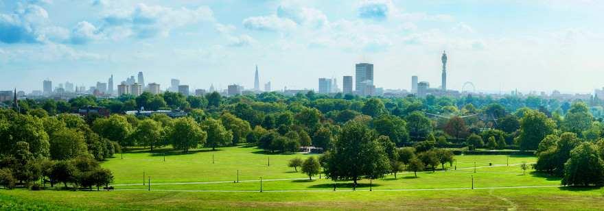 panoramablick vom Primrose Hill im Regents Park in London