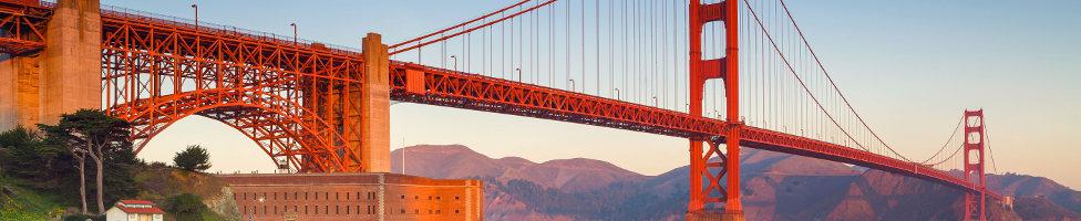 San Francisco Blick auf rote Brückedie Golden Gate Bridge